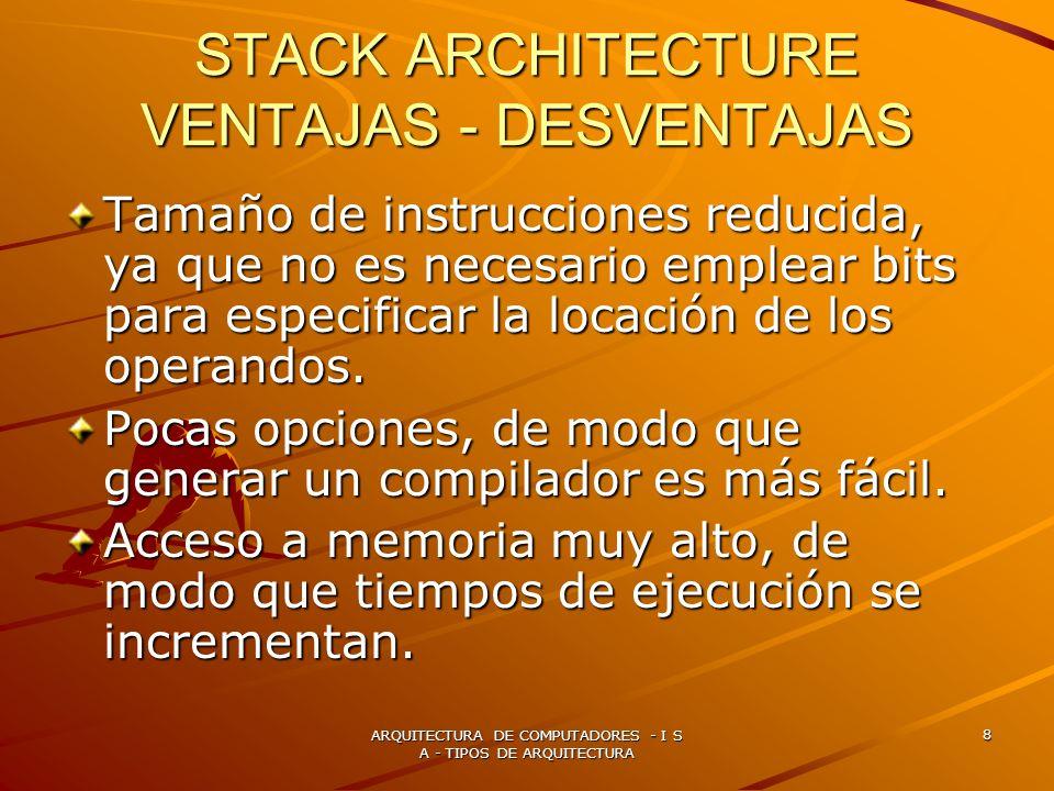 STACK ARCHITECTURE VENTAJAS - DESVENTAJAS