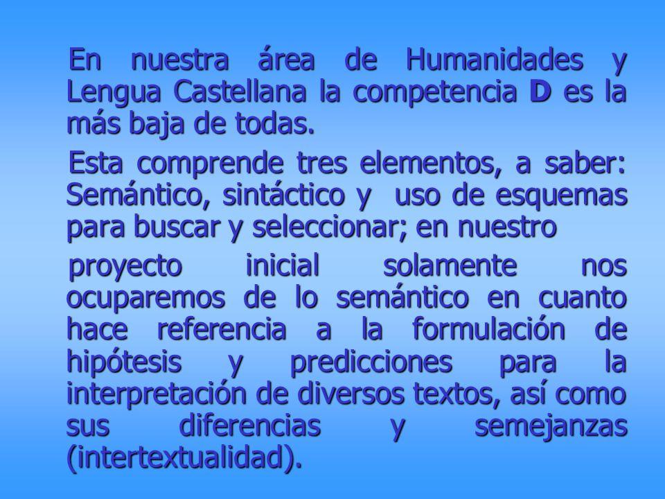 En nuestra área de Humanidades y Lengua Castellana la competencia D es la más baja de todas.