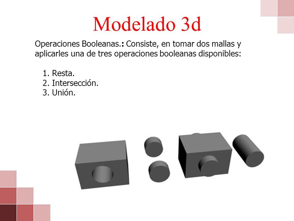 Modelado 3d Operaciones Booleanas.: Consiste, en tomar dos mallas y aplicarles una de tres operaciones booleanas disponibles: