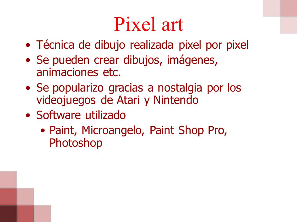 Pixel art Técnica de dibujo realizada pixel por pixel