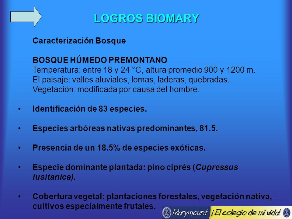LOGROS BIOMARY Caracterización Bosque BOSQUE HÚMEDO PREMONTANO