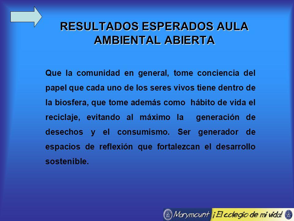 RESULTADOS ESPERADOS AULA AMBIENTAL ABIERTA