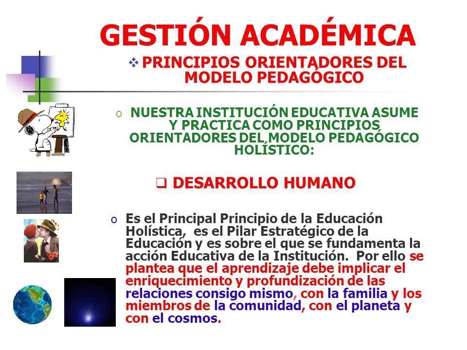 PRINCIPIOS ORIENTADORES DEL MODELO PEDAGÓGICO