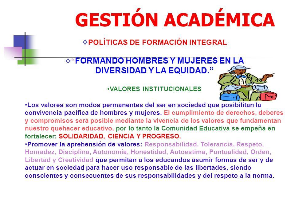 GESTIÓN ACADÉMICA DIVERSIDAD Y LA EQUIDAD.
