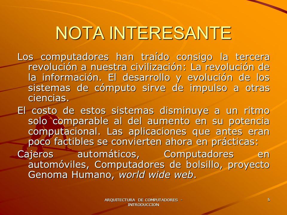 ARQUITECTURA DE COMPUTADORES - INTRODUCCION