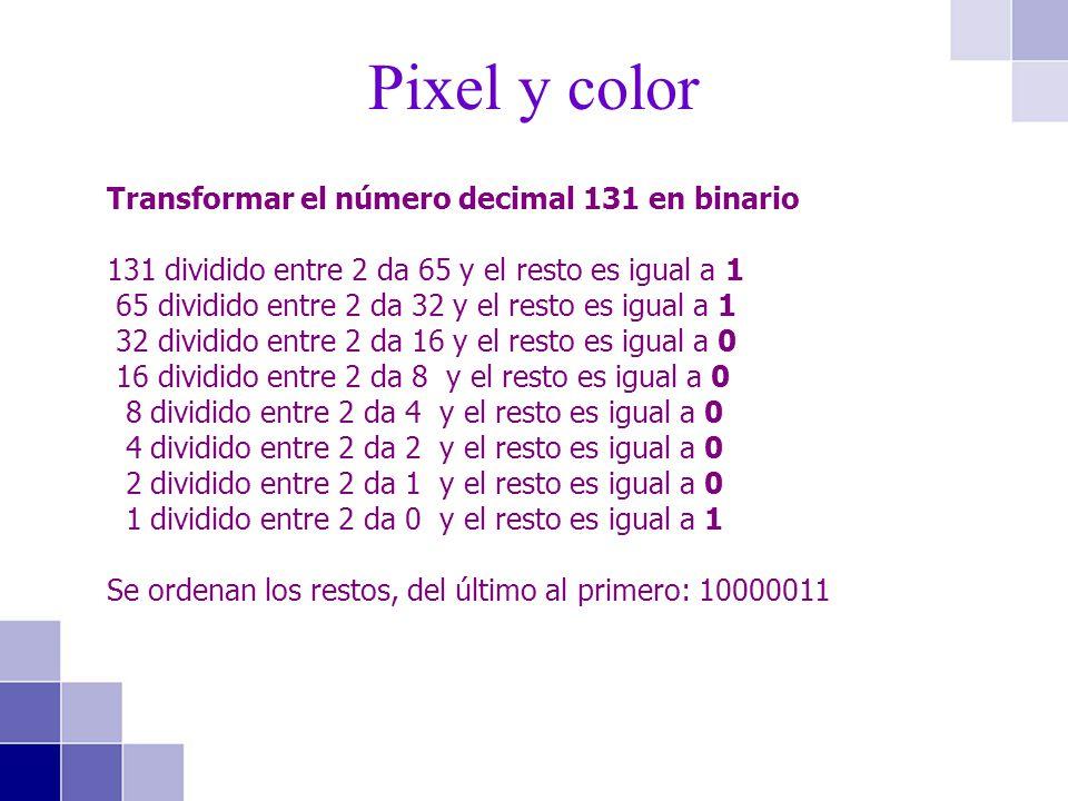 Pixel y color Transformar el número decimal 131 en binario