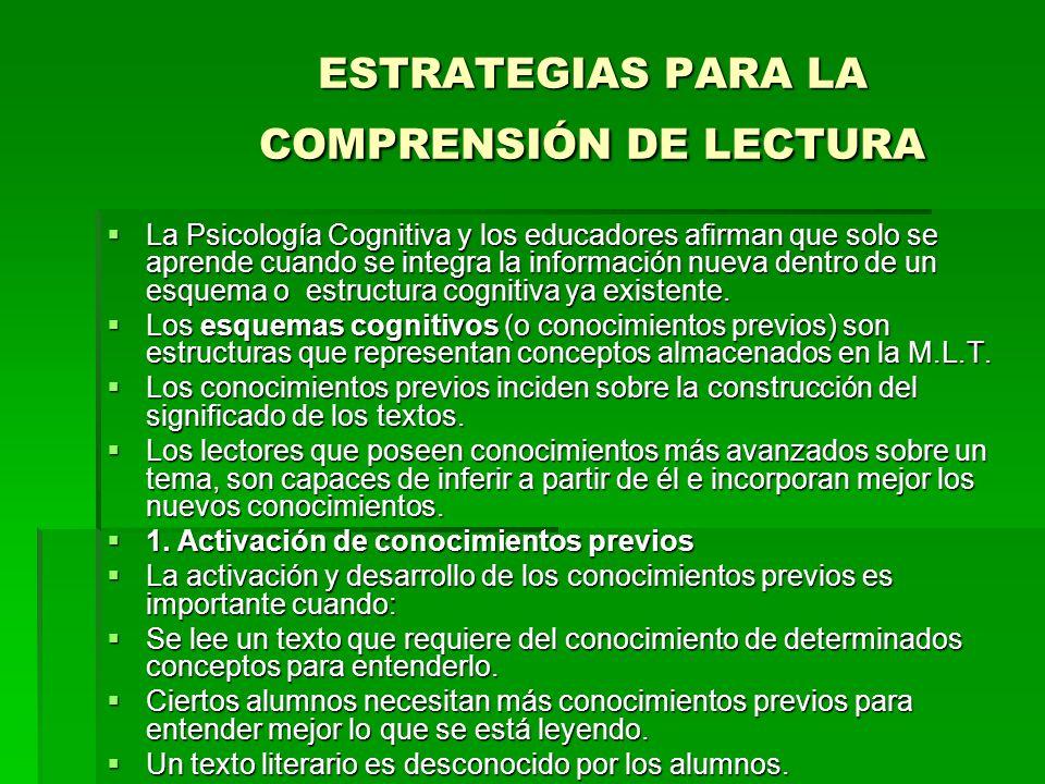 ESTRATEGIAS PARA LA COMPRENSIÓN DE LECTURA