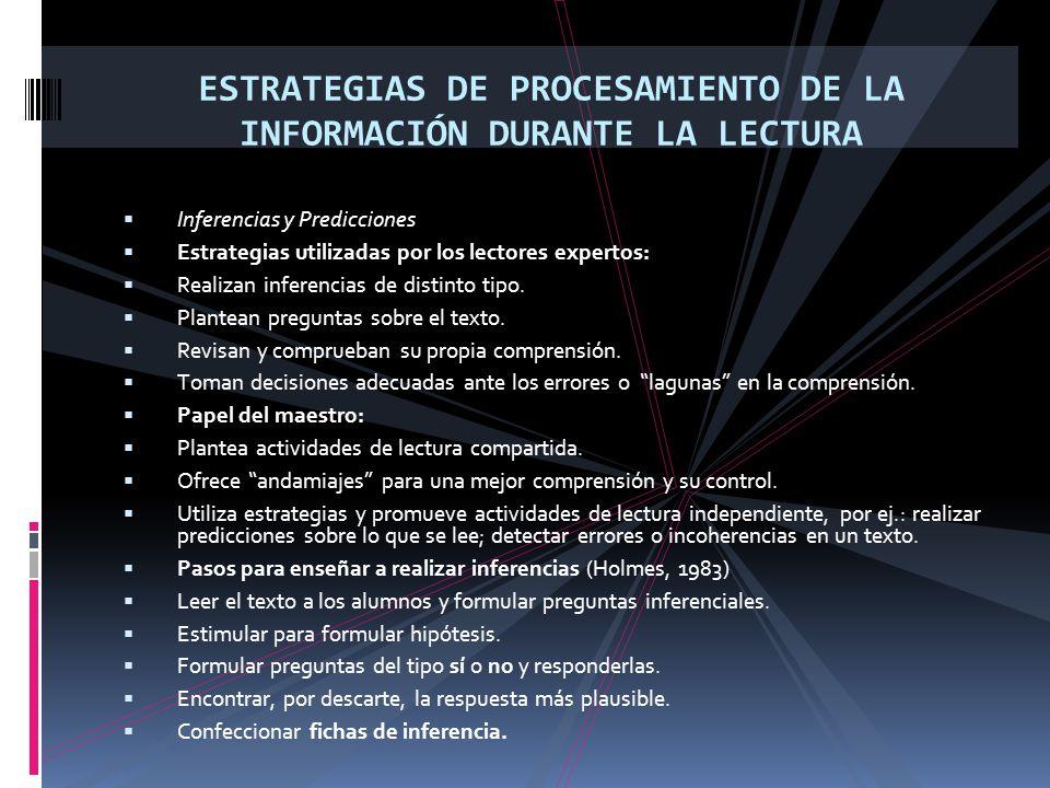 ESTRATEGIAS DE PROCESAMIENTO DE LA INFORMACIÓN DURANTE LA LECTURA