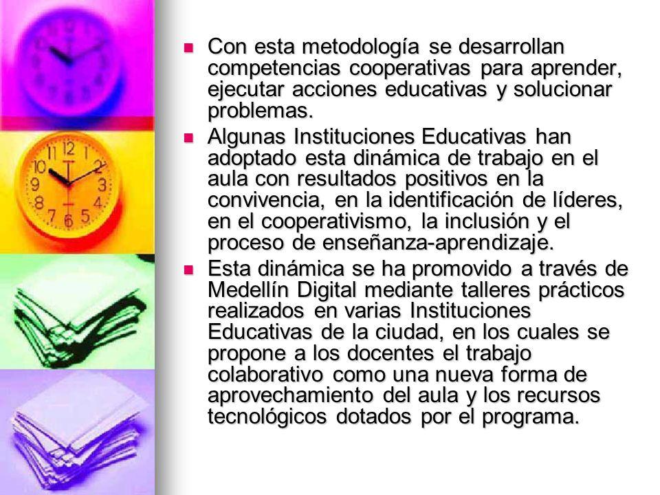 Con esta metodología se desarrollan competencias cooperativas para aprender, ejecutar acciones educativas y solucionar problemas.
