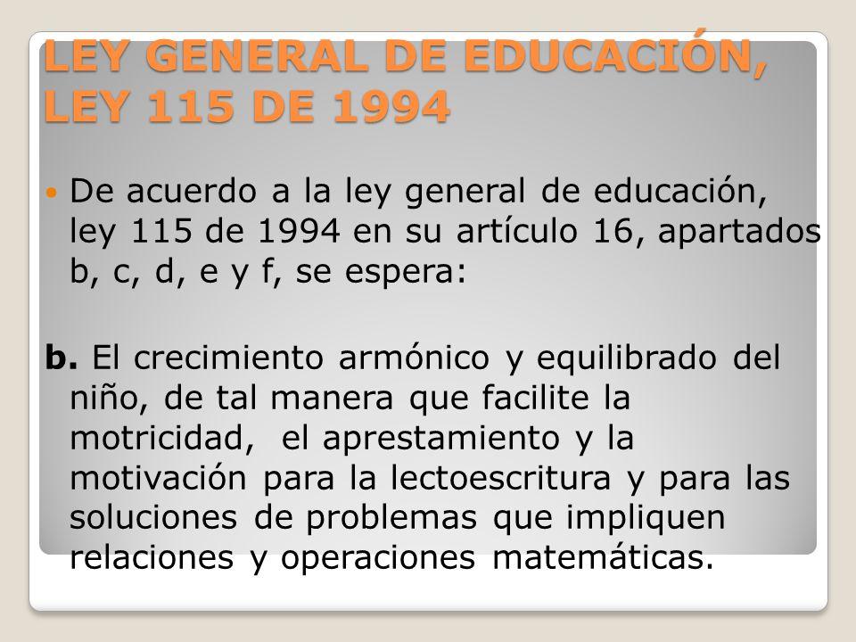 LEY GENERAL DE EDUCACIÓN, LEY 115 DE 1994