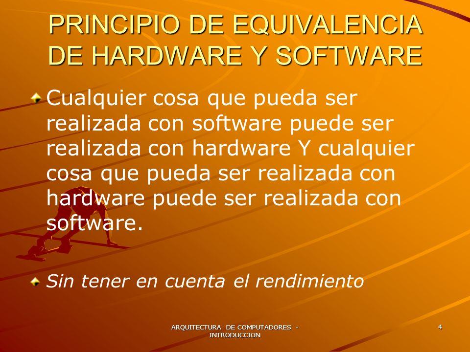 PRINCIPIO DE EQUIVALENCIA DE HARDWARE Y SOFTWARE