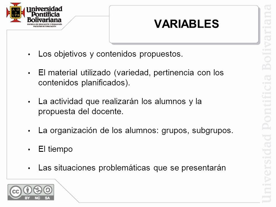 VARIABLES Los objetivos y contenidos propuestos.