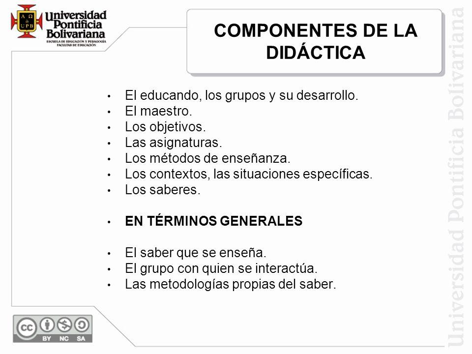 COMPONENTES DE LA DIDÁCTICA
