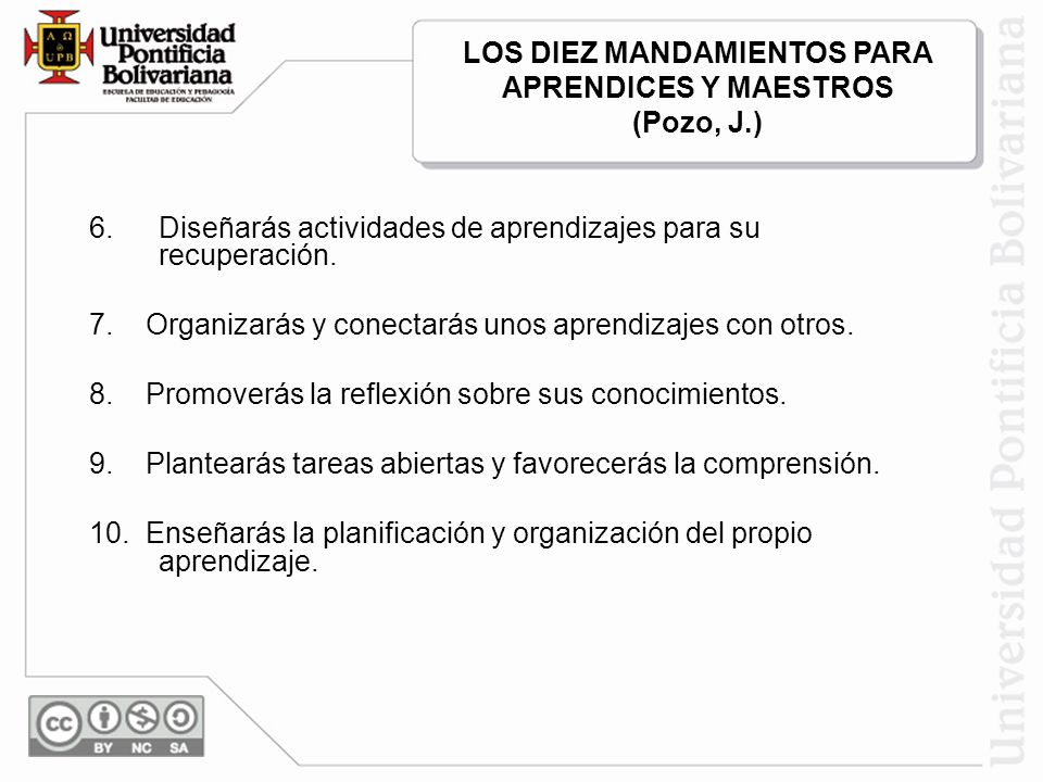 LOS DIEZ MANDAMIENTOS PARA APRENDICES Y MAESTROS (Pozo, J.)