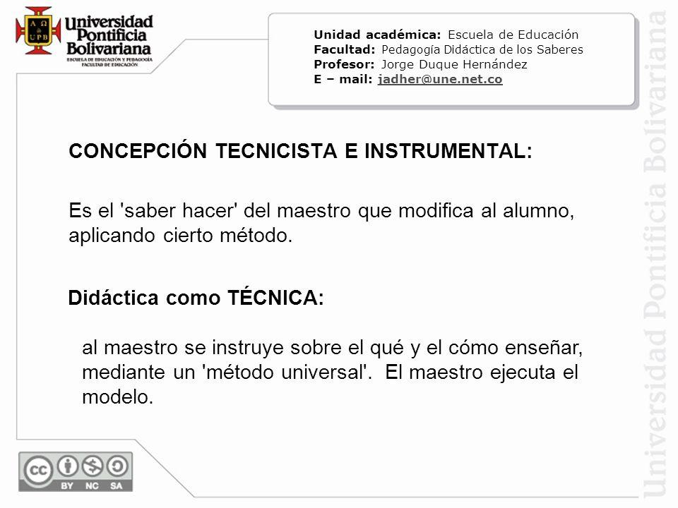CONCEPCIÓN TECNICISTA E INSTRUMENTAL: