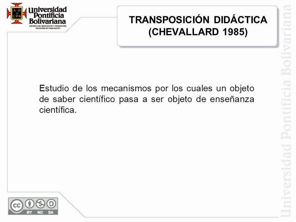 TRANSPOSICIÓN DIDÁCTICA (CHEVALLARD 1985)
