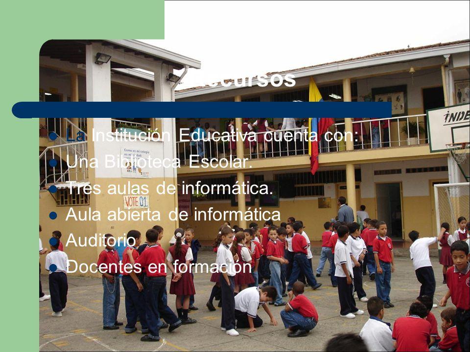 Recursos La Institución Educativa cuenta con: Una Biblioteca Escolar.
