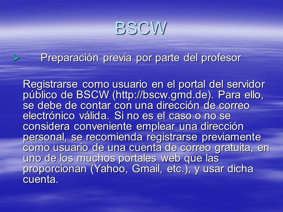 BSCW Preparación previa por parte del profesor