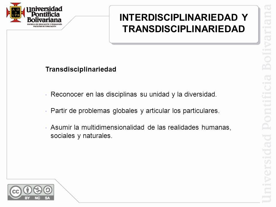 INTERDISCIPLINARIEDAD Y TRANSDISCIPLINARIEDAD