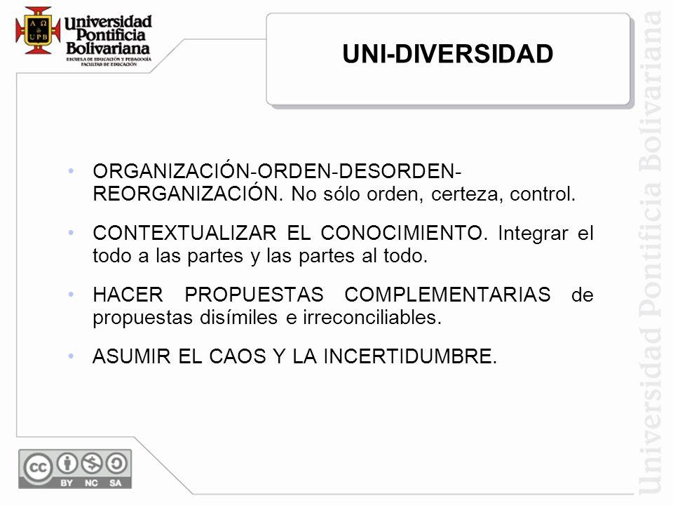 UNI-DIVERSIDAD ORGANIZACIÓN-ORDEN-DESORDEN- REORGANIZACIÓN. No sólo orden, certeza, control.