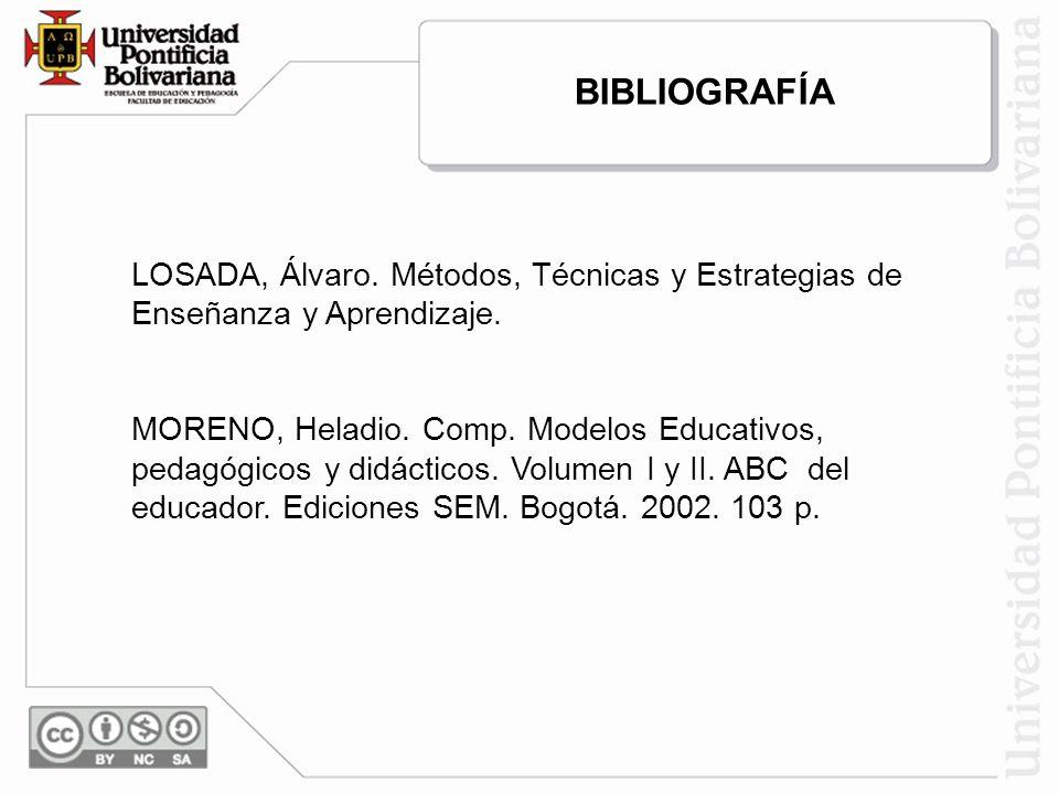BIBLIOGRAFÍA LOSADA, Álvaro. Métodos, Técnicas y Estrategias de Enseñanza y Aprendizaje.