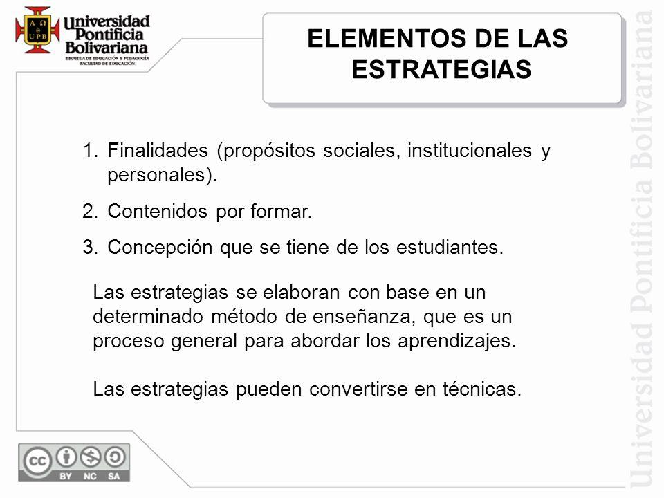 ELEMENTOS DE LAS ESTRATEGIAS