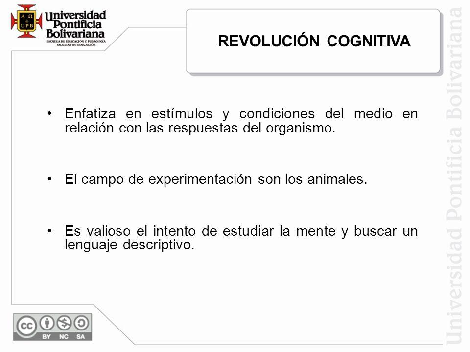 REVOLUCIÓN COGNITIVA Enfatiza en estímulos y condiciones del medio en relación con las respuestas del organismo.