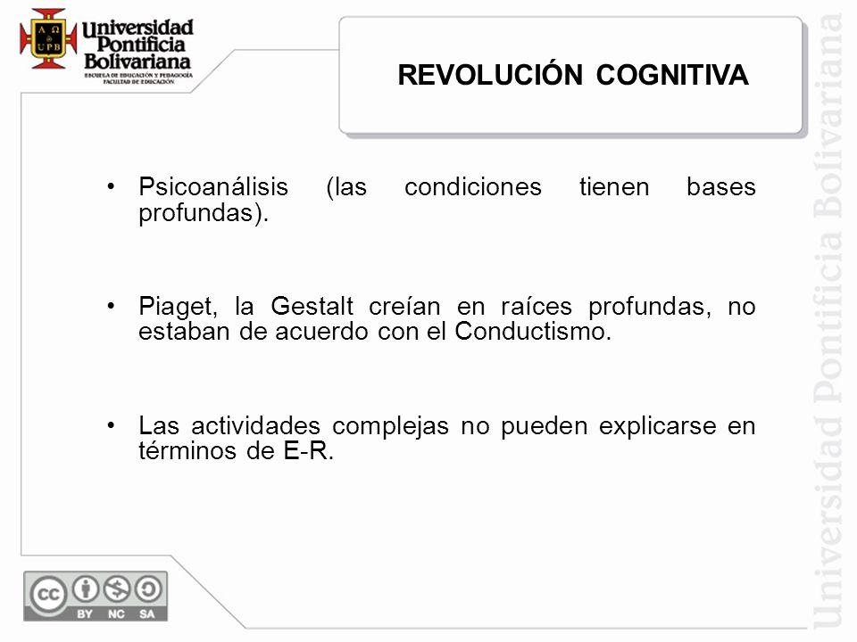 REVOLUCIÓN COGNITIVA Psicoanálisis (las condiciones tienen bases profundas).