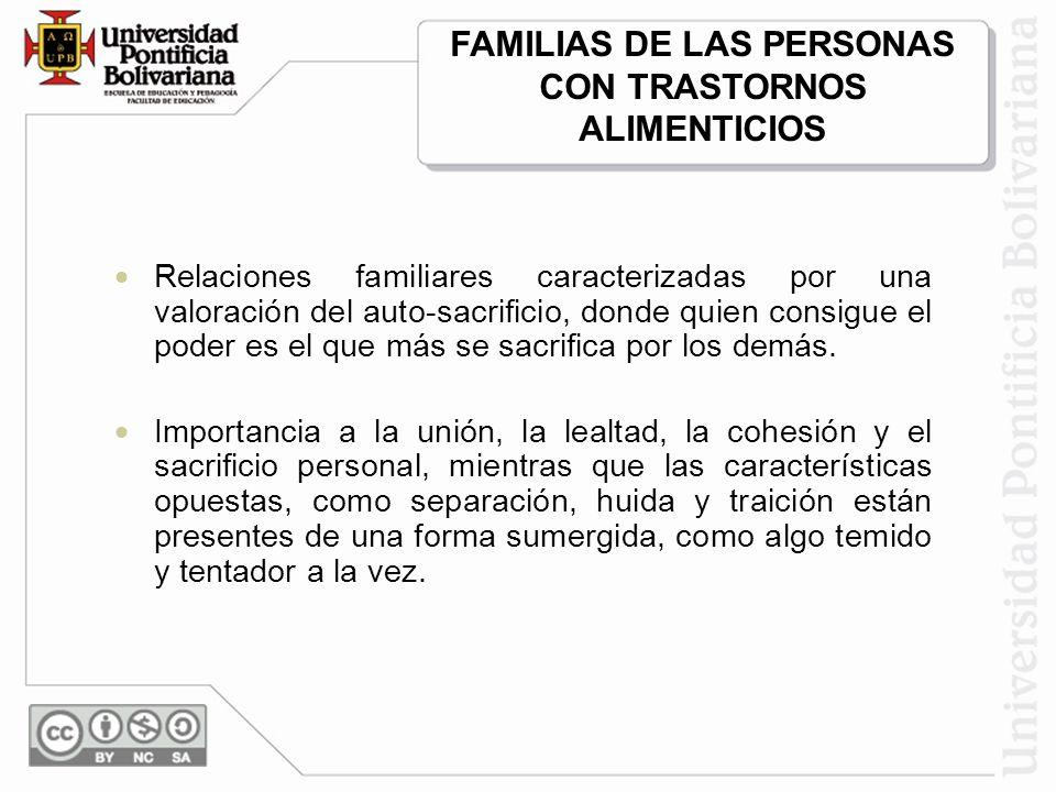 FAMILIAS DE LAS PERSONAS CON TRASTORNOS ALIMENTICIOS