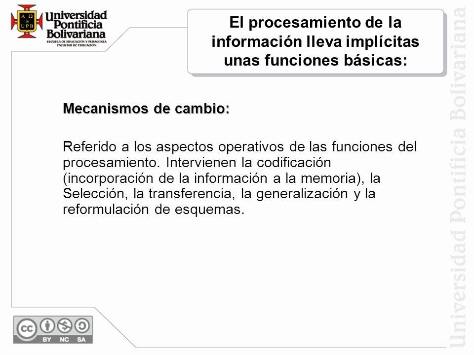 El procesamiento de la información lleva implícitas unas funciones básicas: