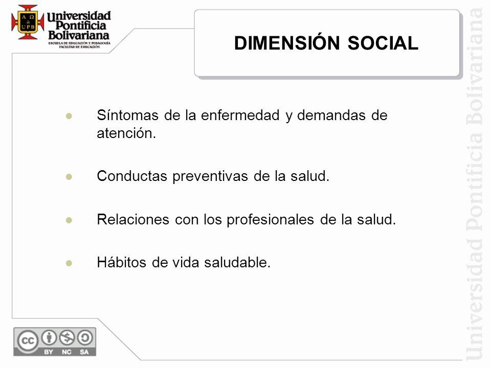 DIMENSIÓN SOCIAL Síntomas de la enfermedad y demandas de atención.