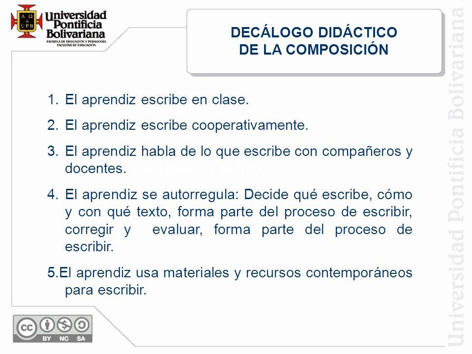 DECÁLOGO DIDÁCTICO DE LA COMPOSICIÓN. El aprendiz escribe en clase. El aprendiz escribe cooperativamente.
