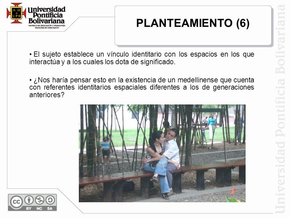 PLANTEAMIENTO (6) El sujeto establece un vínculo identitario con los espacios en los que interactúa y a los cuales los dota de significado.