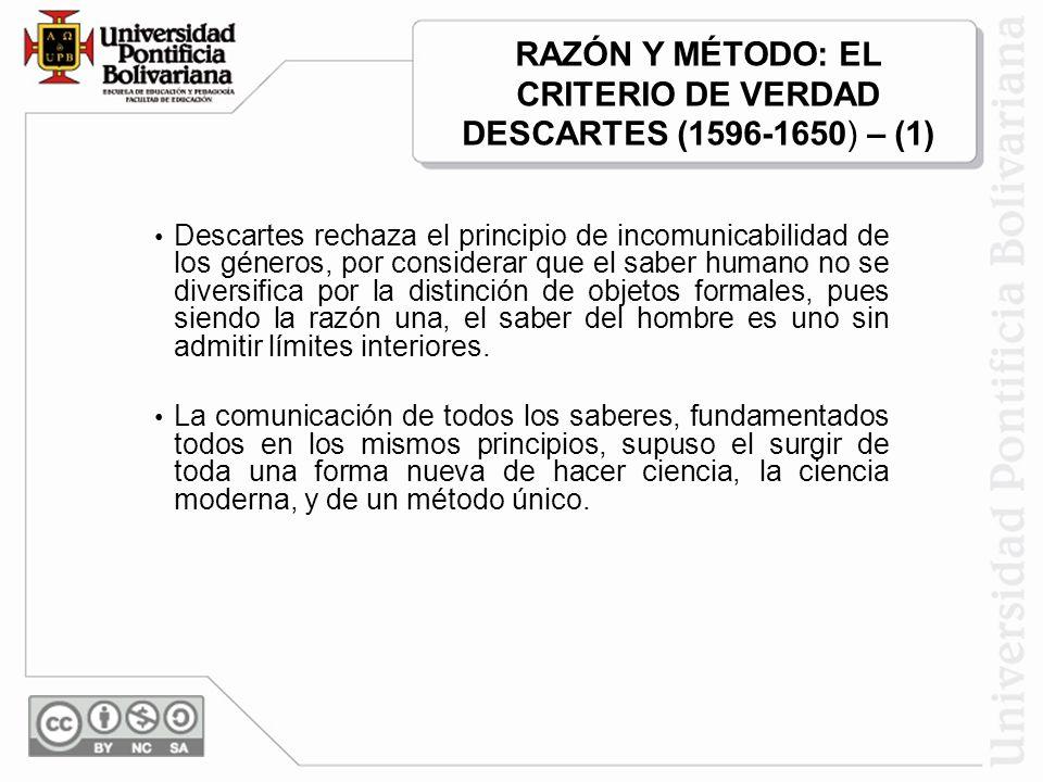 RAZÓN Y MÉTODO: EL CRITERIO DE VERDAD DESCARTES (1596-1650) – (1)