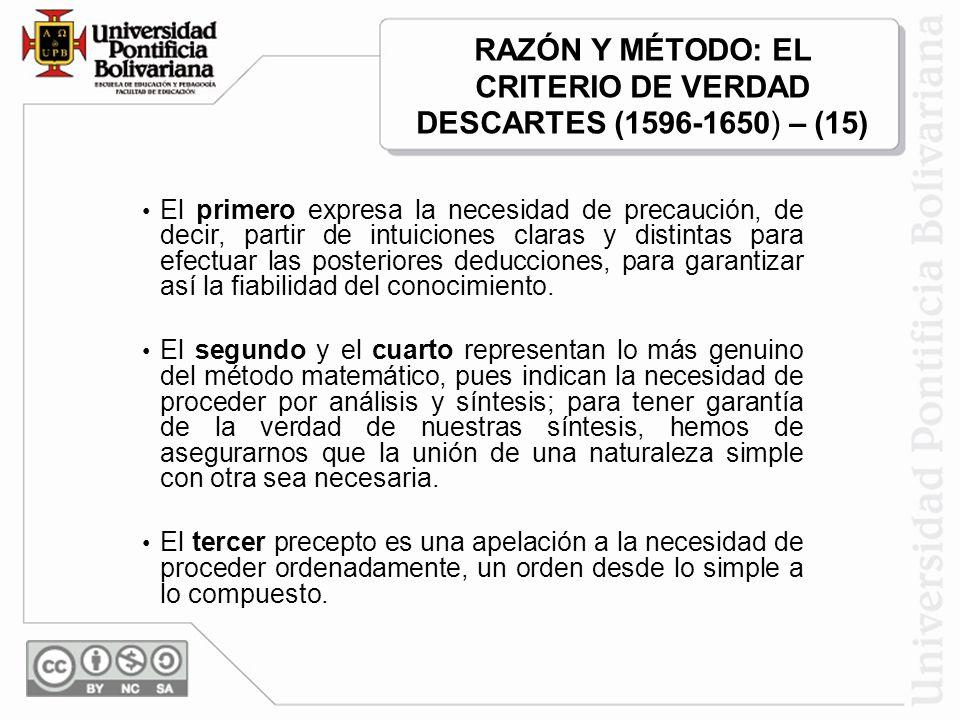 RAZÓN Y MÉTODO: EL CRITERIO DE VERDAD DESCARTES (1596-1650) – (15)