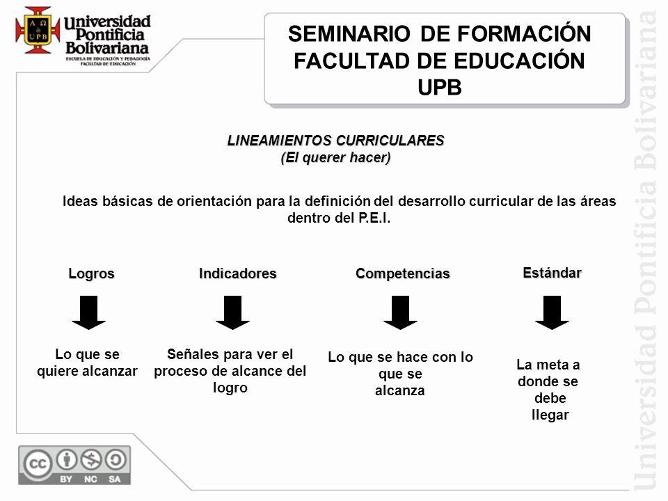 SEMINARIO DE FORMACIÓN FACULTAD DE EDUCACIÓN UPB