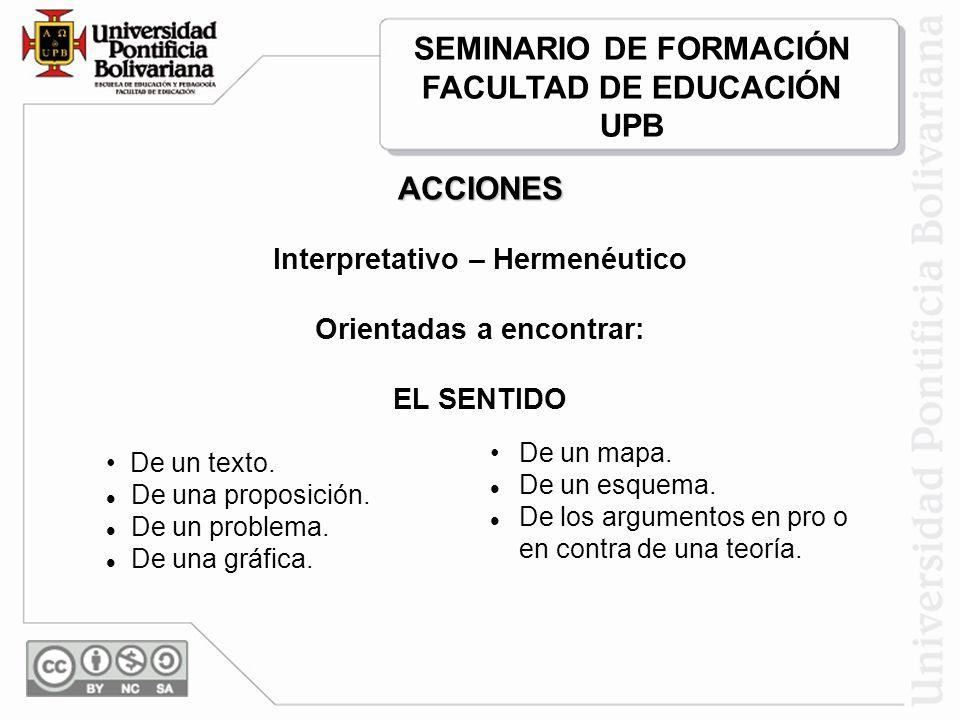 SEMINARIO DE FORMACIÓN FACULTAD DE EDUCACIÓN UPB ACCIONES