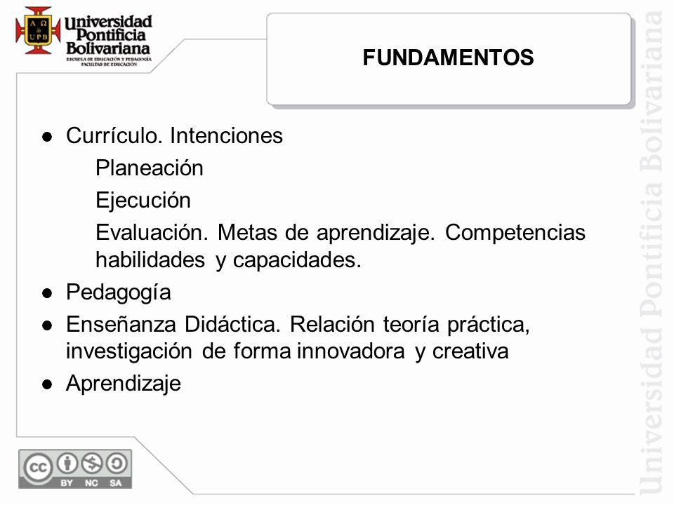FUNDAMENTOS Currículo. Intenciones. Planeación. Ejecución. Evaluación. Metas de aprendizaje. Competencias habilidades y capacidades.