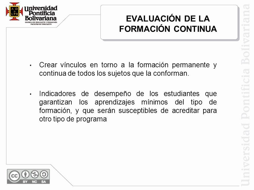EVALUACIÓN DE LA FORMACIÓN CONTINUA