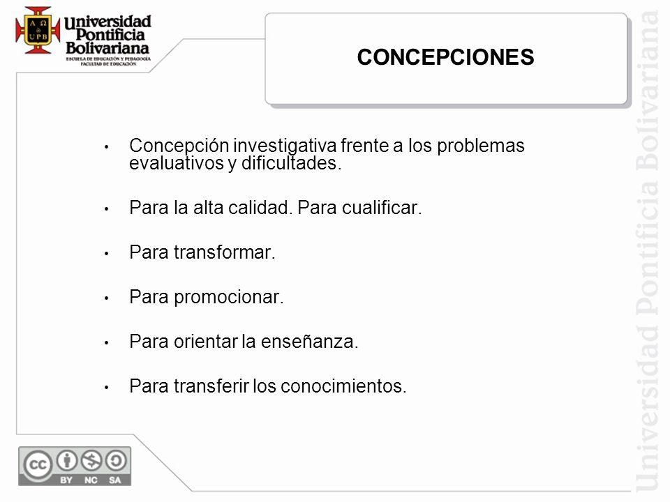 CONCEPCIONES Concepción investigativa frente a los problemas evaluativos y dificultades. Para la alta calidad. Para cualificar.
