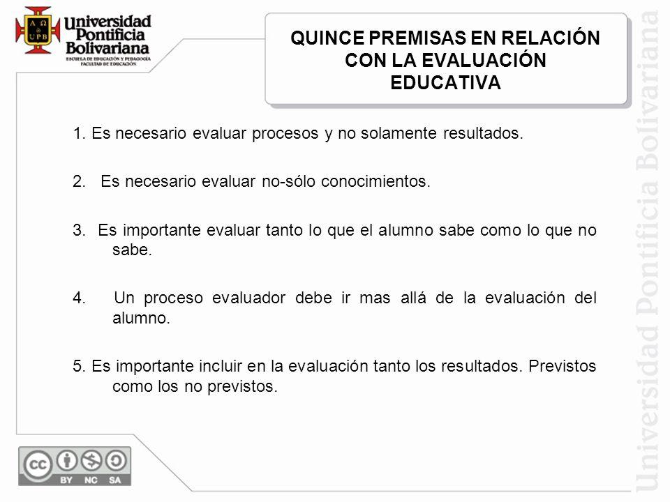 QUINCE PREMISAS EN RELACIÓN CON LA EVALUACIÓN EDUCATIVA