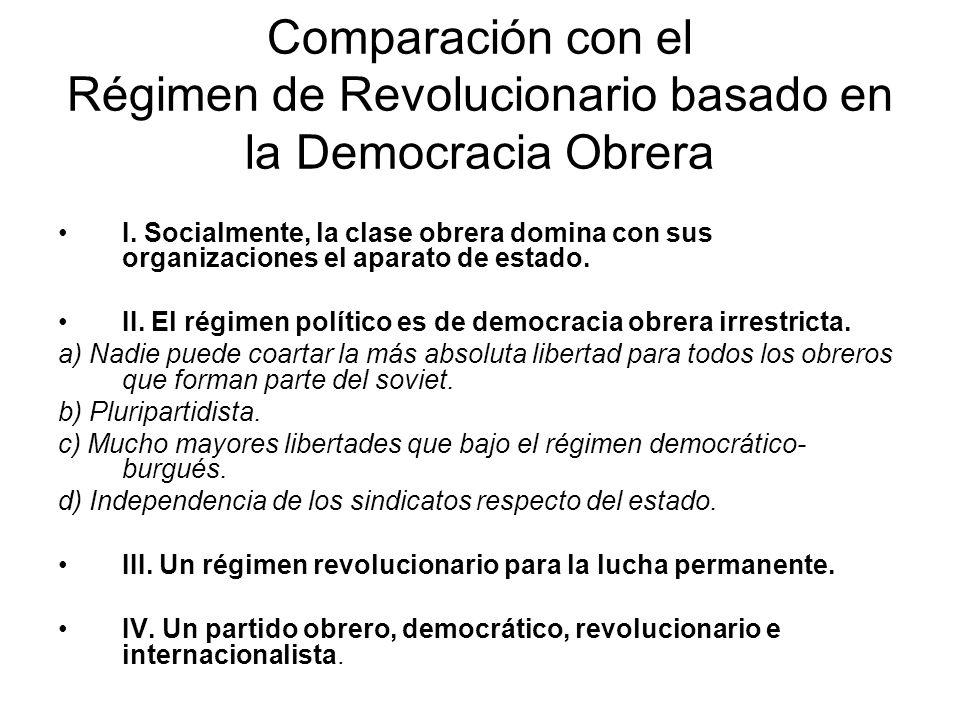 Comparación con el Régimen de Revolucionario basado en la Democracia Obrera