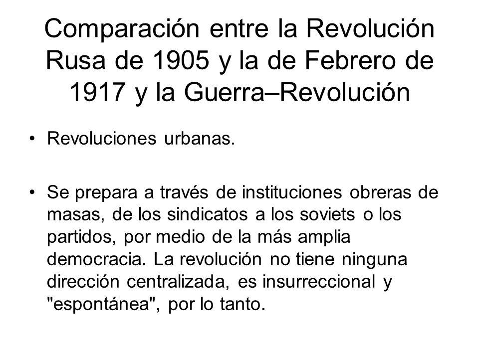 Comparación entre la Revolución Rusa de 1905 y la de Febrero de 1917 y la Guerra–Revolución