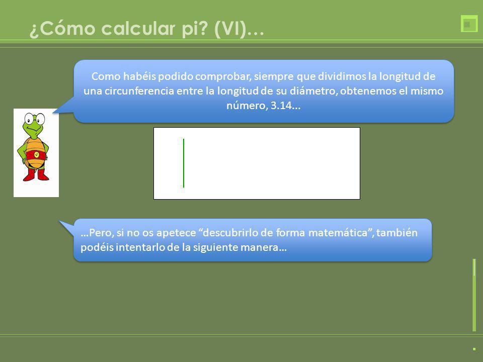 ¿Cómo calcular pi (VI)…