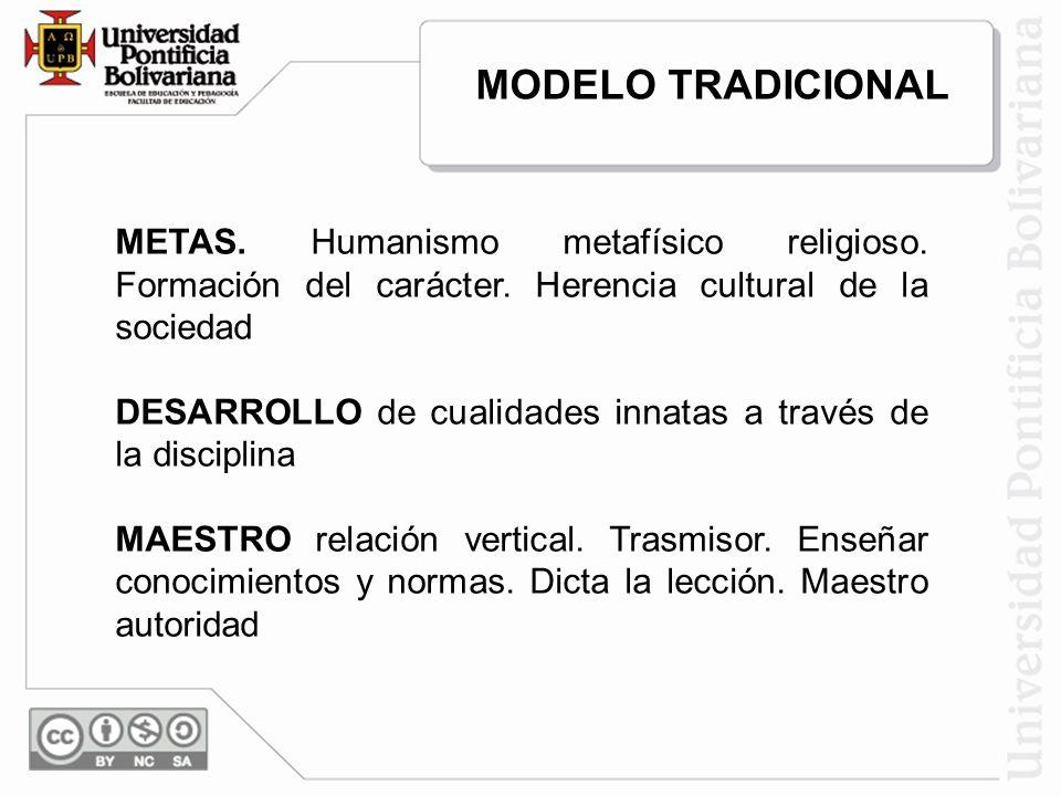 MODELO TRADICIONAL METAS. Humanismo metafísico religioso. Formación del carácter. Herencia cultural de la sociedad.