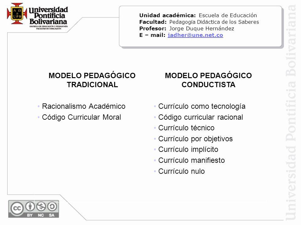 MODELO PEDAGÓGICO TRADICIONAL MODELO PEDAGÓGICO CONDUCTISTA