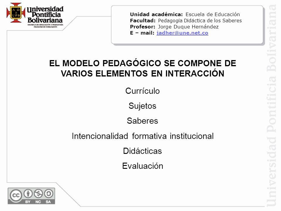 EL MODELO PEDAGÓGICO SE COMPONE DE VARIOS ELEMENTOS EN INTERACCIÓN