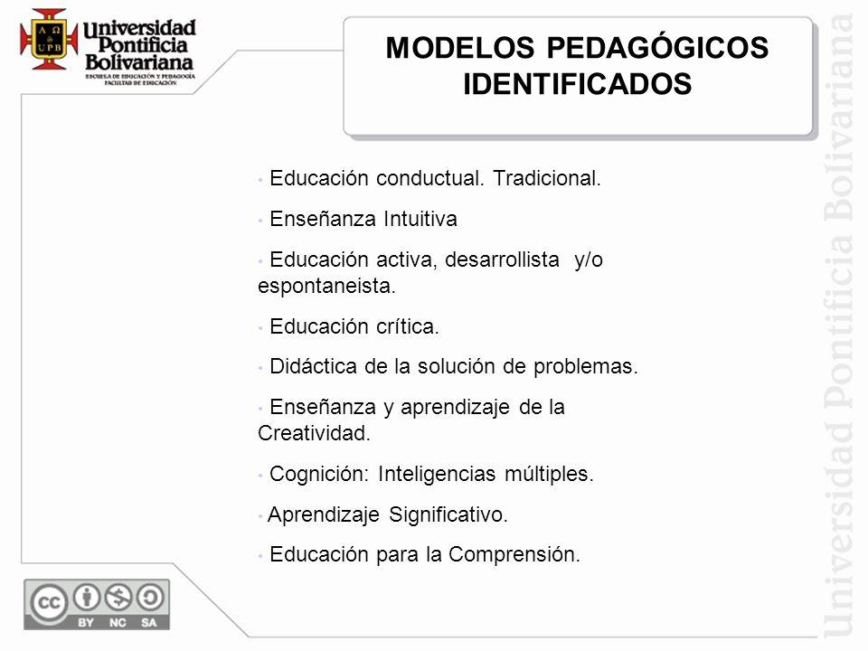 MODELOS PEDAGÓGICOS IDENTIFICADOS