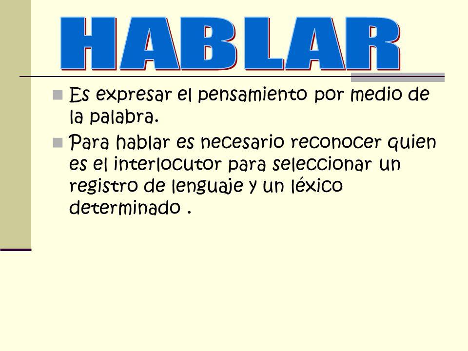 HABLAR Es expresar el pensamiento por medio de la palabra.