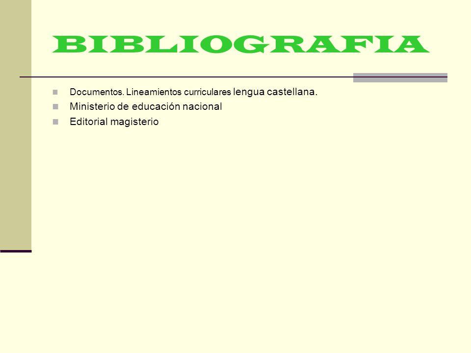 BIBLIOGRAFIA Ministerio de educación nacional Editorial magisterio